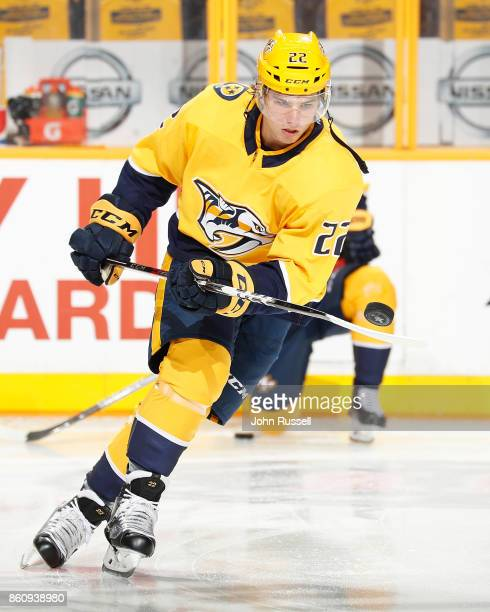 Kevin Fiala of the Nashville Predators skates in warmups prior to the game against the Philadelphia Flyers during an NHL game at Bridgestone Arena on...