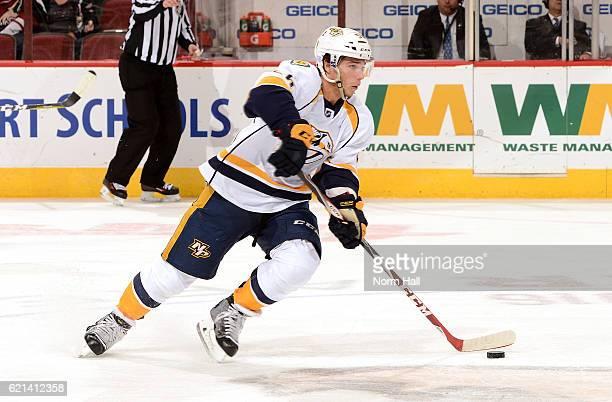 Kevin Fiala of the Nashville Predators skates the puck up ice against the Arizona Coyotes at Gila River Arena on November 3 2016 in Glendale Arizona