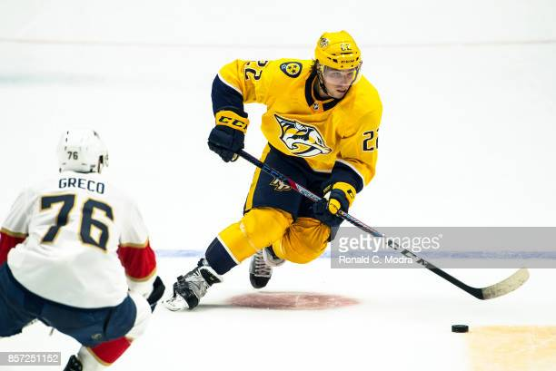 Kevin Fiala of the Nashville Predators skates with the puck during a NHL preseason game against the Florida Panthers at Bridgestone Arena on...
