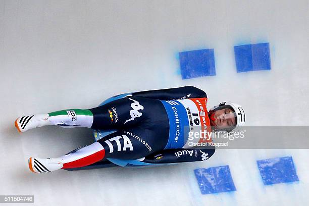 Kevin Fischnaller of Italy competes during heat one of the Men's event of the Viessmann Luge World Cup Day 2 at Veltins EisArena on February 20 2016...