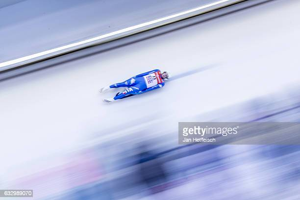 Kevin Fischnaller of Italy competes in the first heat of the Men's Luge competition during the third day of the FILWorld Championships at...