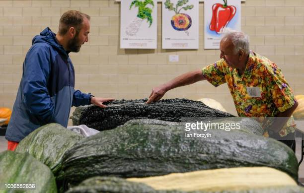 Kevin Fortey and Ian Neale from Newport arrive overnight with a Giant marrow as they prepare for the giant vegetable competition on the first day of...