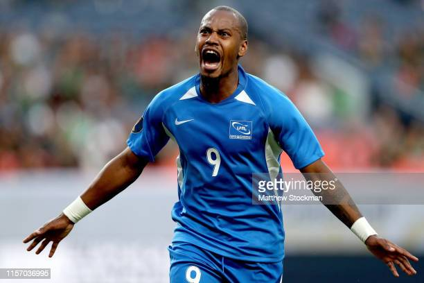 Kevin Fortune of Martinique celebrates scoring a goal against Cuba in the second half during group play in the CONCACAF Gold Cup at Sports Authority...