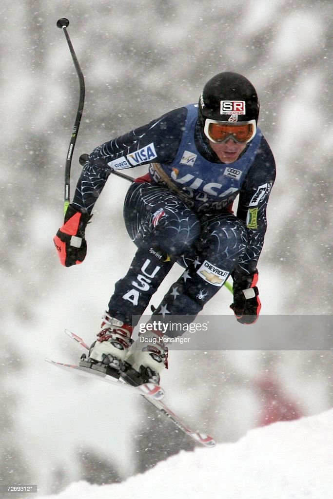Kevin Francis of the USA attacks the course in the FIS Alpine World Cup Men's Downhill on December 1, 2006 on Birds of Prey at Beaver Creek in Avon, Colorado.
