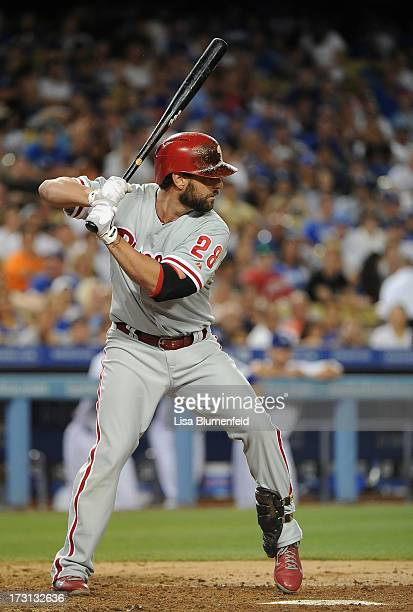 Kevin Frandsen of the Philadelphia Phillies bats against the Los Angeles Dodgers at Dodger Stadium on June 29 2013 in Los Angeles California