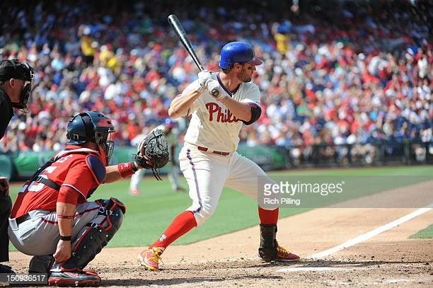 Kevin Frandsen of the Philadelphia Phillies bats during the game against the Washington nationals on August 26 2012 at Citizens Bank Park in...