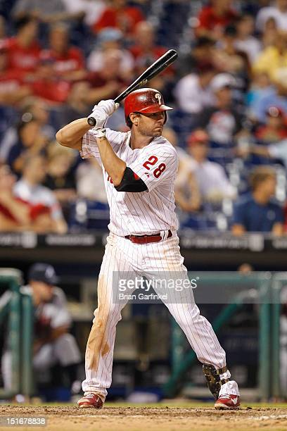 Kevin Frandsen of the Philadelphia Phillies bats during the game against the Atlanta Braves at Citizens Bank Park on August 6 2012 in Philadelphia...