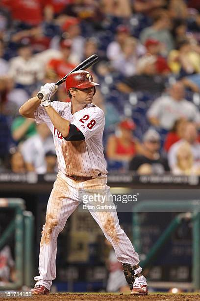 Kevin Frandsen of the Philadelphia Phillies bats during the game against the Atlanta Braves at Citizens Bank Park on August 8 2012 in Philadelphia...