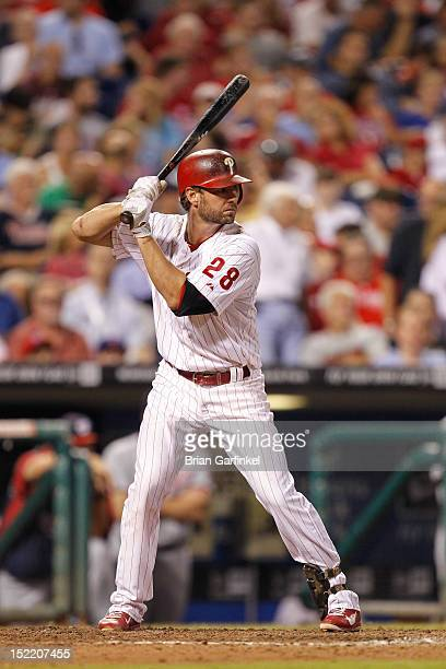 Kevin Frandsen of the Philadelphia Phillies bats during the game against the Washington Nationals at Citizens Bank Park on August 24 2012 in...