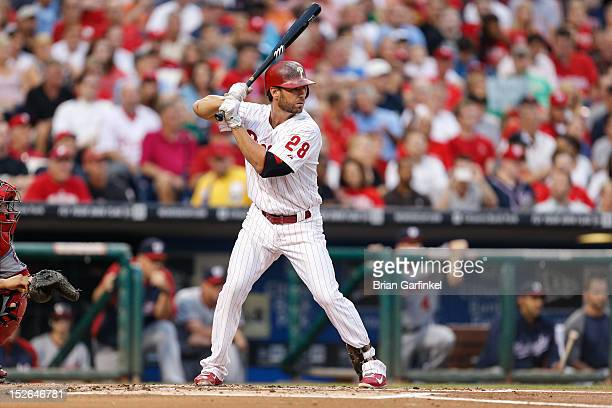 Kevin Frandsen of the Philadelphia Phillies bats during the game against the Washington Nationals at Citizens Bank Park on August 25 2012 in...