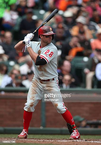 Kevin Frandsen of the Philadelphia Phillies bats during the game against the San Francisco Giants at ATT Park on Wednesday May 8 2013 in San...