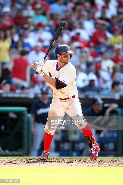 Kevin Frandsen of the Philadelphia Phillies bats during the game against the Milwaukee Brewers at Citizens Bank Park on June 1 2013 in Philadelphia...