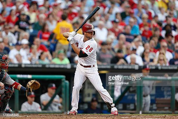 Kevin Frandsen of the Philadelphia Phillies bats during the game against the Boston Red Sox at Citizens Bank Park on May 30 2013 in Philadelphia...