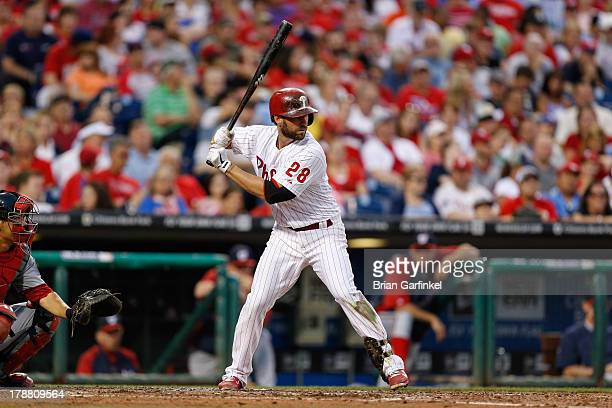 Kevin Frandsen of the Philadelphia Phillies bats during the game against the Washington Nationals at Citizens Bank Park on June 19 2013 in...