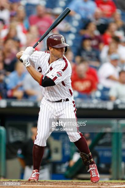 Kevin Frandsen of the Philadelphia Phillies bats during the game against the Arizona Diamondbacks at Citizens Bank Park on August 23 2013 in...