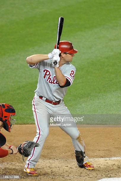 Kevin Frandsen of the Philadelphia Phillies prepares for a pitch during a baseball game against the Washington Capitals on July 31 2012 at Nationals...
