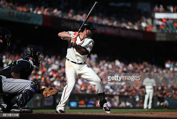 Kevin Frandsen of the San Francisco Giants bats against the Colorado Rockies during the game at ATT Park on Saturday October 3 2015 in San Francisco...