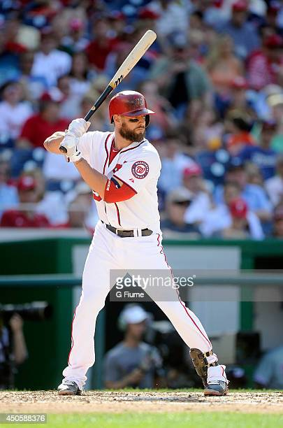 Kevin Frandsen of the Washington Nationals bats against the Philadelphia Phillies at Nationals Park on June 5 2014 in Washington DC