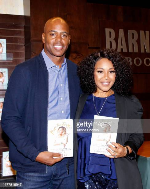 Kevin Frazier and Erica Campbell celebrate Campbell's new book 'More Than Pretty' at Barnes & Noble at The Grove on September 28, 2019 in Los...