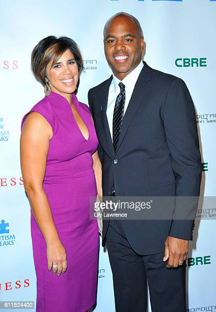 Kevin Frazier and his wife Yazmin Cader Frazier attend Autism Speaks La Vie En Blue Fashion Gala at Warner Bros Studios on September 29 2016 in...
