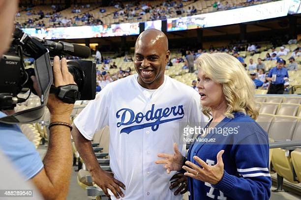 Kevin Frazier and Mary Hart attend a baseball game between the Colorado Rockies and the Los Angeles Dodgers at Dodger Stadium on September 14 2015 in...
