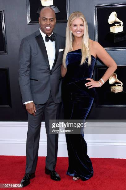 Kevin Frazier and Nancy O'Dell attend the 61st Annual GRAMMY Awards at Staples Center on February 10 2019 in Los Angeles California