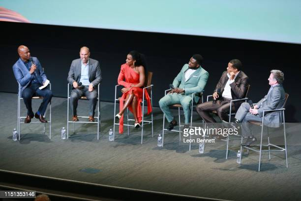 Kevin Frazier Jesse Collins Kelly Rowland Sinqua Walls Tony Cornelius and Jonathan Prince speak to the audience during BET's American Soul Emmy FYC...