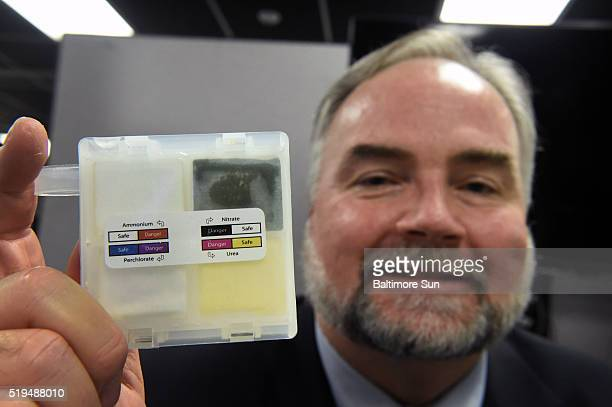 Kevin Fritz Obscuration and Nonlethal Engineering Branch Chief displays a Chemical Reconnaissance Explosive Screening Set that shows a positive...