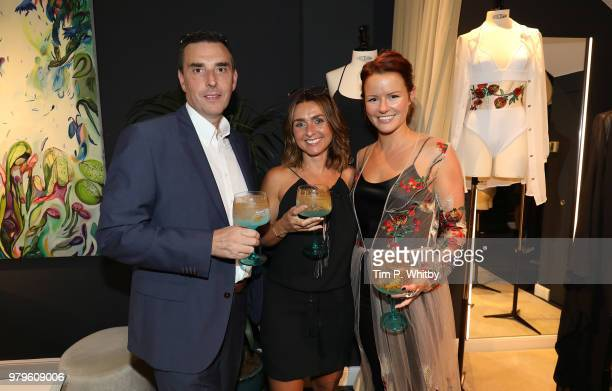 Kevin Furniss Emma Furniss and Claudia Lambeth attend the launch of Luna Mae London's debut Bespoke Swim and Resort collection featuring a...