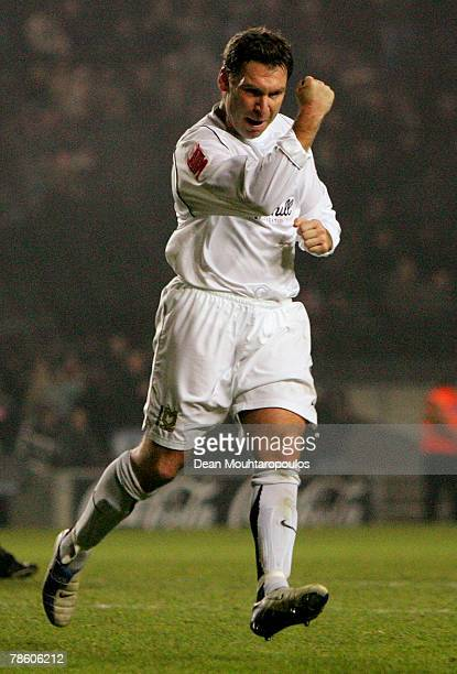 Kevin Gallen of MK Dons celebrates his goal during the CocaCola League Two match between Milton Keynes Dons and Brentford FC at StadiumMk on December...