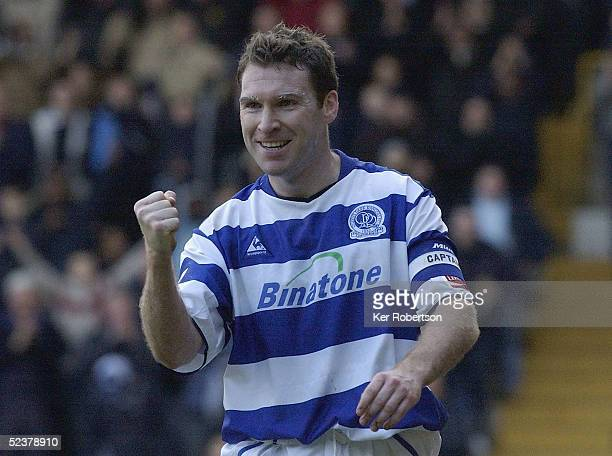 Kevin Gallen of Queens Park Rangers celebrates scoring the second goal during the Coca-Cola Championship match between Queens Park Rangers and...