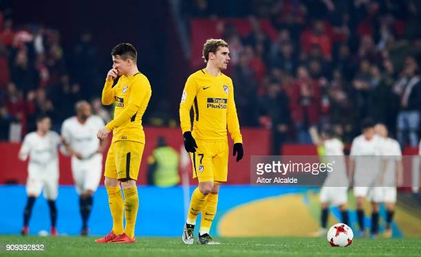Kevin Gameiro and Antoine Griezmann of Atletico Madrid reacts during the Copa del Rey Quarter Final second Leg match between Sevilla FC and Atletico...
