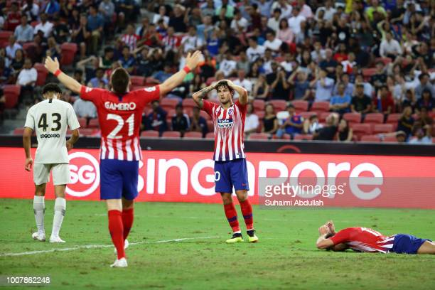 Kevin Gameiro and Roberto Olabe of Atletico Madrid reacts after Luciano Vietto miss a shot at goal during the International Champions Cup 2018 match...