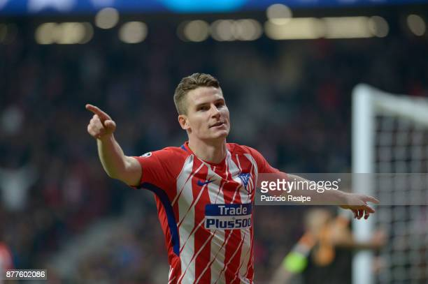 Kevin Gameiro of Atletico de Madrid celebrates after scoring the second goal of his team during a match between Atletico Madrid and AS Roma as part...