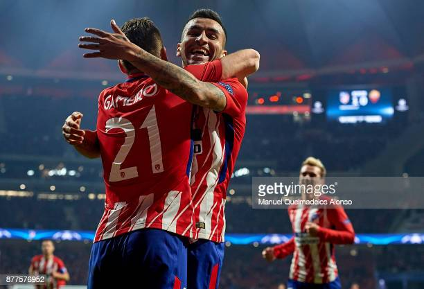 Kevin Gameiro of Atletico de Madrid celebrates scoring his team's second goal with his teammate Angel Martin Correa during the UEFA Champions League...
