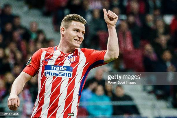 Kevin Gameiro of Atletico de Madrid gestures during the UEFA Europa League quarter final leg one match between Atletico Madrid and Sporting CP at...