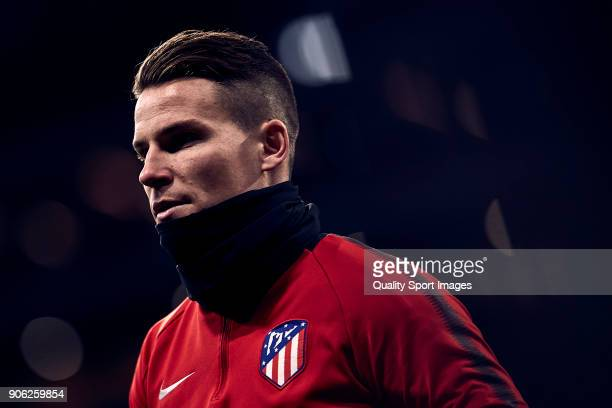Kevin Gameiro of Atletico de Madrid looks on prior to the Copa del Rey Round of 8 first Leg match between Atletico de Madrid and Sevilla FC at...
