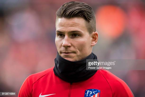 Kevin Gameiro of Atletico de Madrid looks on prior to the La Liga 201718 match between Atletico de Madrid and Girona FC at Wanda Metropolitano on 20...