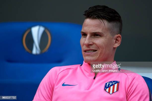 Kevin Gameiro of Atletico de Madrid looks on prior to the UEFA Europa League Final between Olympique de Marseille and Club Atletico de Madrid at...