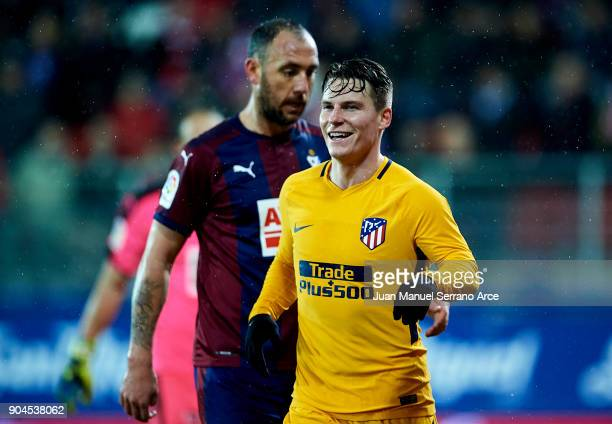 Kevin Gameiro of Atletico Madrid celebrates after scoring goal during the La Liga match between SD Eibar and Atletico Madrid at Ipurua Municipal...