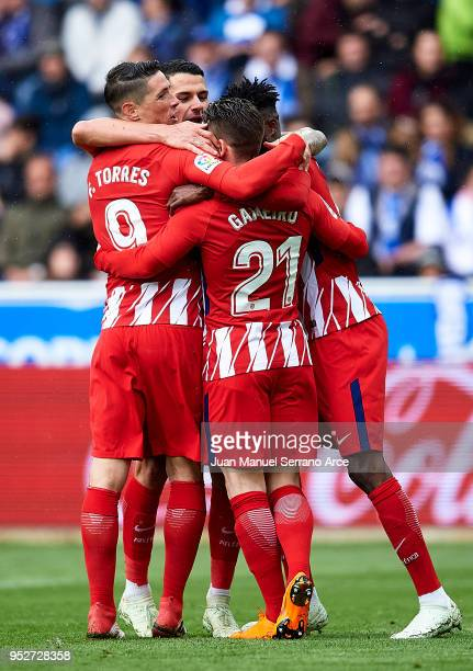 Kevin Gameiro of Atletico Madrid celebrates after scoring goal during the La Liga match between Deportivo Alaves and Atletico Madrid at Mendizorroza...
