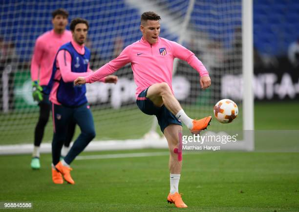 Kevin Gameiro of Atletico Madrid controls the ball during a Club Atletico de Madrid training session ahead of the the UEFA Europa League Final...