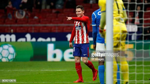 Kevin Gameiro of Atletico Madrid gestures during the Copa Del Rey match between Atletico de Madrid and Lleida Esportiu at Wanda Metropolitano on...