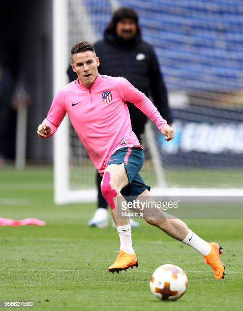 Kevin Gameiro of Atletico Madrid in action during a Club Atletico de Madrid training session ahead of the the UEFA Europa League Final against...
