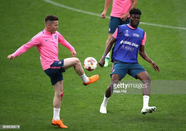 Kevin Gameiro of Atletico Madrid in action with Thomas Partey of Atletico Madrid during a Club Atletico de Madrid training session ahead of the the...