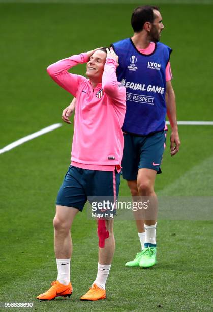 Kevin Gameiro of Atletico Madrid reacts during a Club Atletico de Madrid training session ahead of the the UEFA Europa League Final against Olympique...
