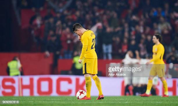 Kevin Gameiro of Atletico Madrid reacts during the Copa del Rey Quarter Final second Leg match between Sevilla FC and Atletico de Madrid at Estadio...
