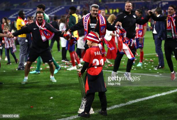 Kevin Gameiro of Atletico Madrid son celebrates on the pitch following the UEFA Europa League Final between Olympique de Marseille and Club Atletico...
