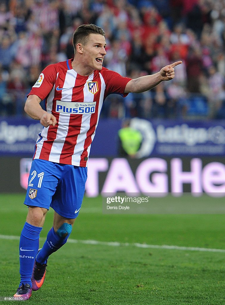 Kevin Gameiro of Club Atletico de Madrid celebrates after scoring his team's 3rd goal during the La Liga match between Club Atletico de Madrid and Malaga CF at estadio Vicente Calderon on October 29, 2016 in Madrid, Spain.