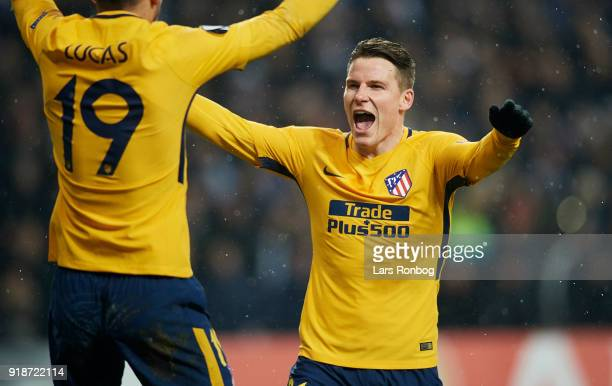 Kevin Gameiro of Club Atletico de Madrid celebrates after scoring their second goal during the UEFA Europa League round of 32 1 leg match between FC...